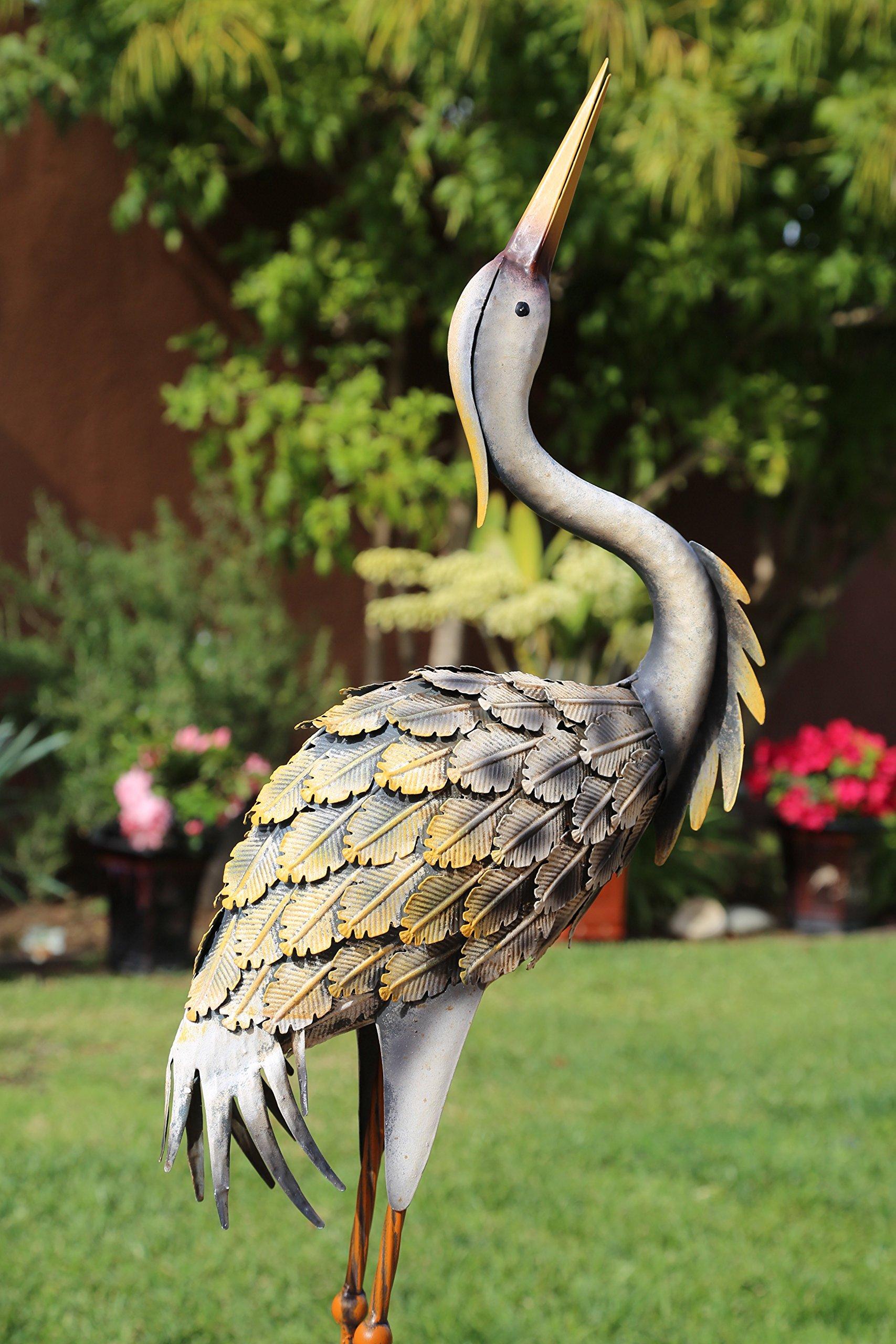 Outdoor/Indoor Accent Metal Grey Herons 41'' Patina Figurine Statues Bird
