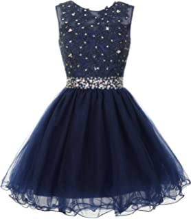 57a595d298 Mamilove Women s Tulle Short Applique Beading Formal Homecoming Cocktail  Party Dress