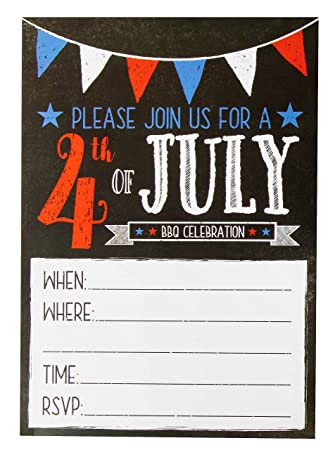 amazon com 4th of july invitations 50 pack bbq party invitations