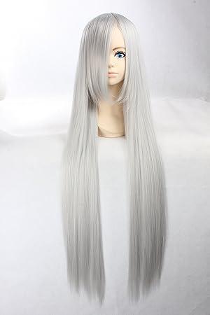 Eday Cosplay peluca blanca de plata peluca extra larga blanca de plata peluca recta Superbia Squalo