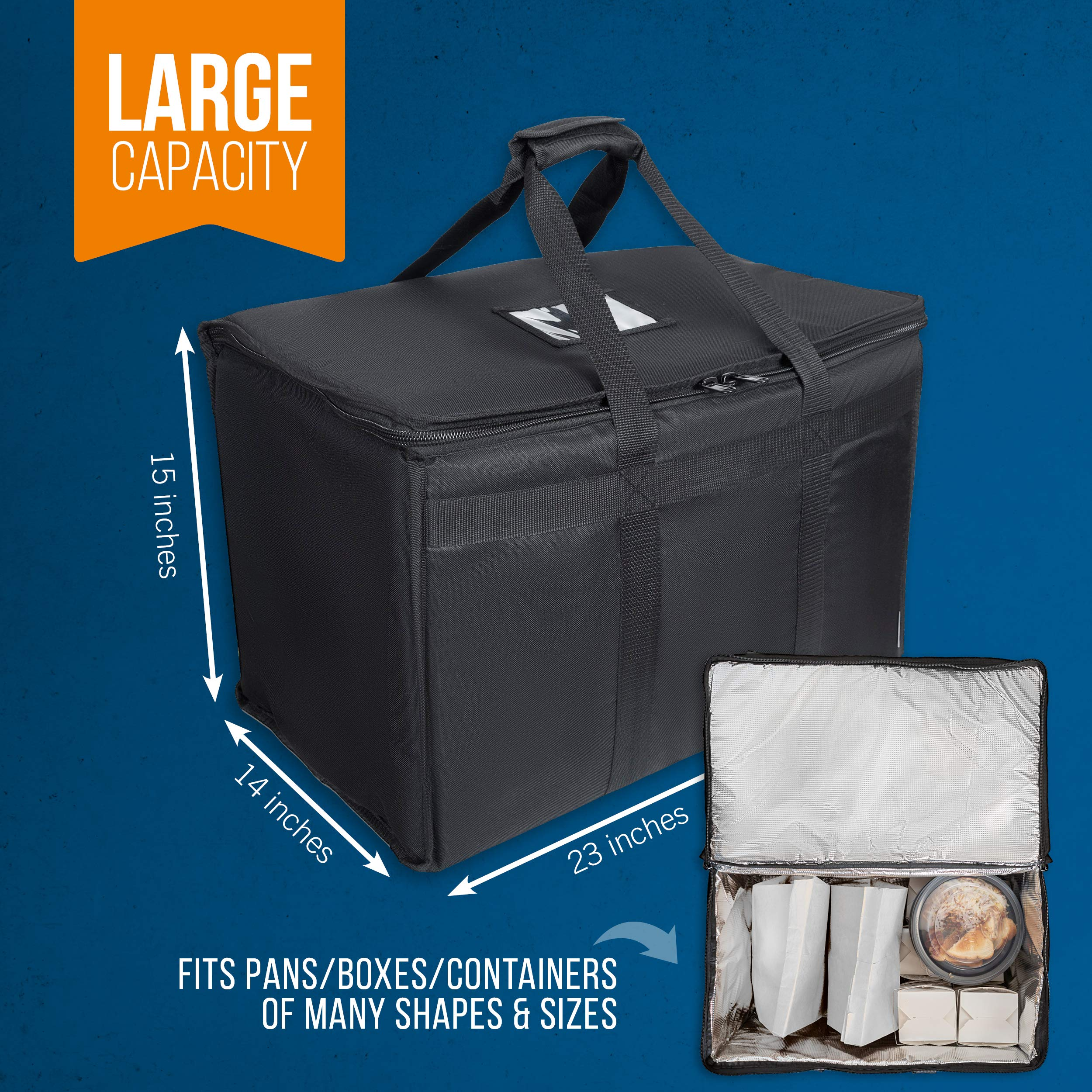 """Food Delivery Bag. Heavy Duty Bag with Strong Insulation. Reinforced Stitching for Heavy Loads. Perfect for Food Delivery & Commercial Transportation. Fit Chafing Trays. Large Capacity (23""""x14""""x15""""). by Trust the Fresh (Image #5)"""
