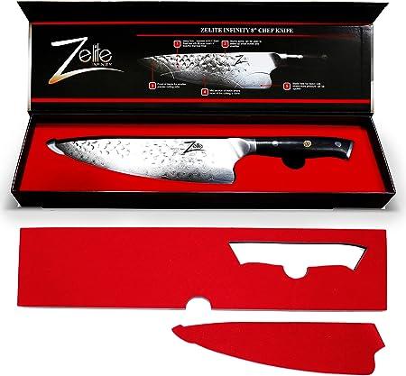 Zelite Infinity Chef Knife 8 Inch - Edición ejecutiva de Chefs de la Serie Alpha-Royal - Diseño revolucionario Air-Blade, Mejor japonés AUS10 Super Steel 67 Layer High Carbon