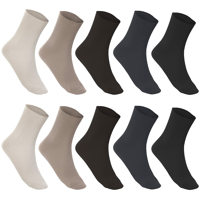4 Paar Damensocken Socken ohne Gummi 100/% Baumwolle 1//1 Rippe 4 Farben 35 bis 42