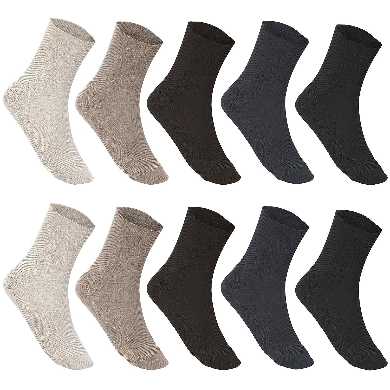 4 Paar Socken 100/% Baumwolle ohne Gummi Diabetikersocken 1//1 Rippe weiß 39-46