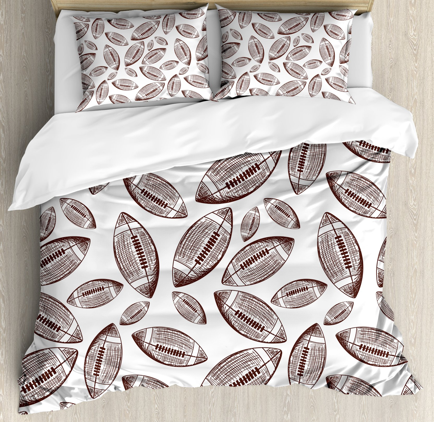 Football Duvet Cover Set King Size by Ambesonne, Sports Inspired Pattern Rugby Balls in Hand Drawn Sketch Style Game Symbol, Decorative 3 Piece Bedding Set with 2 Pillow Shams, Dark Brown White
