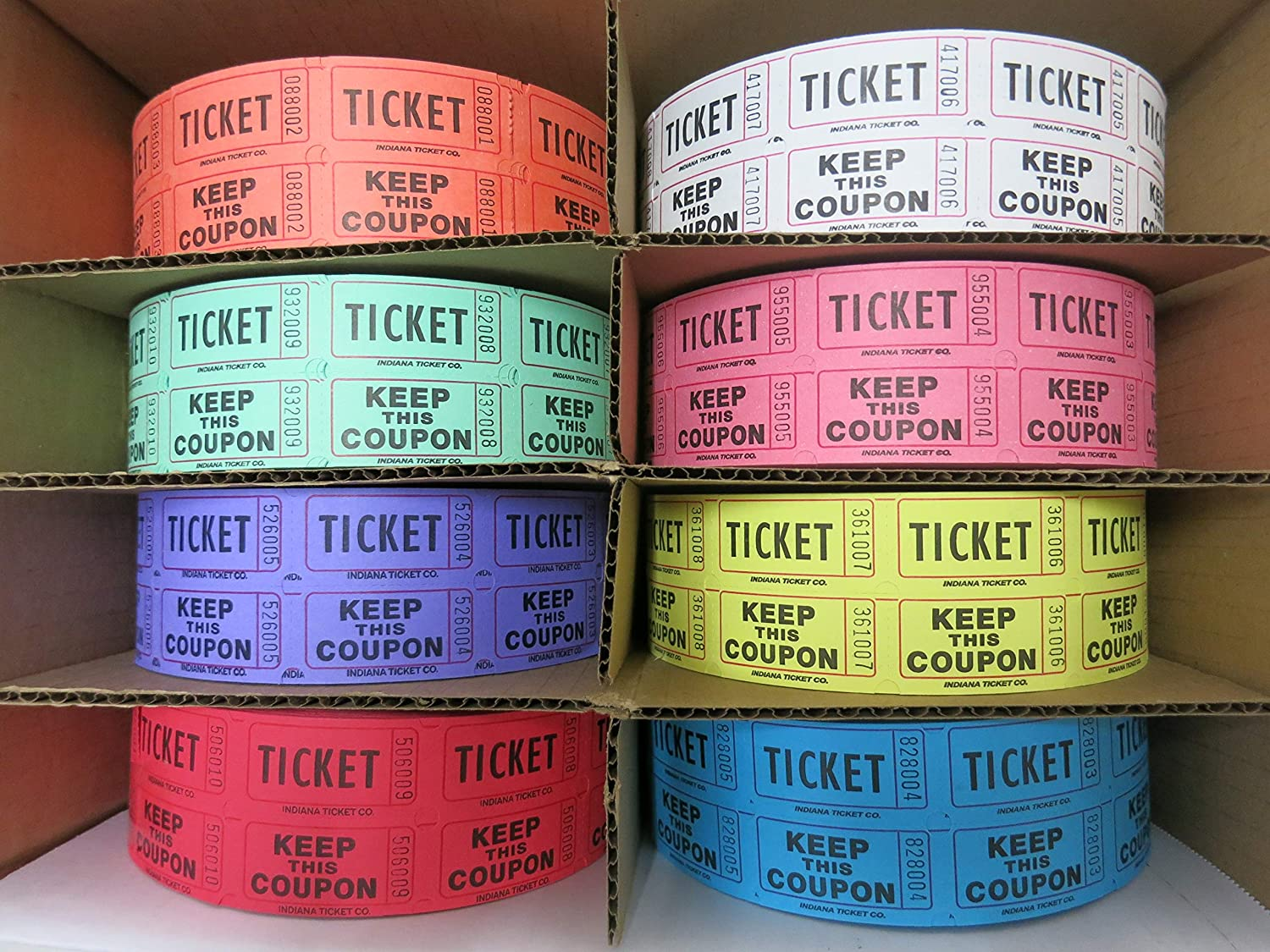 Double Roll Raffle Ticket - Set of 8 Colors (8 Rolls of 2000 Tickets)
