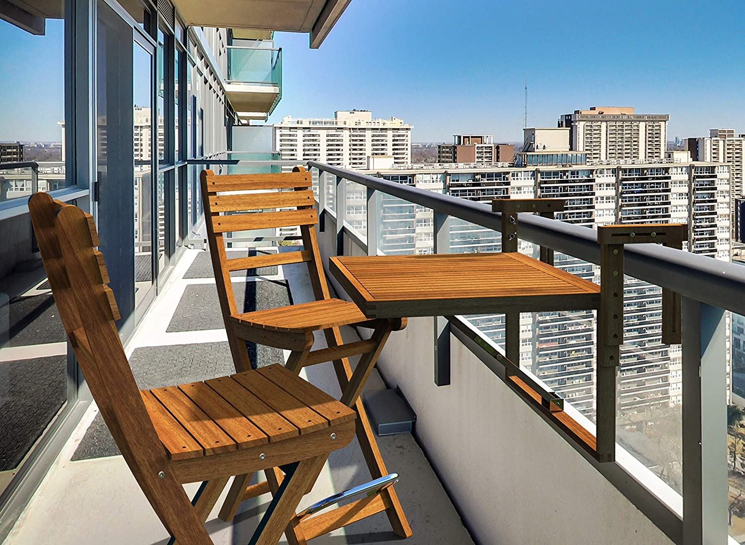 Gentil INTERBUILD REAL WOOD Stockholm Balcony Table U0026 Sofia Bar Chairs (1 Table+2  Chairs) | Small Balcony, Saving Space Table Set | Folding Table Set |  Golden Teak ...