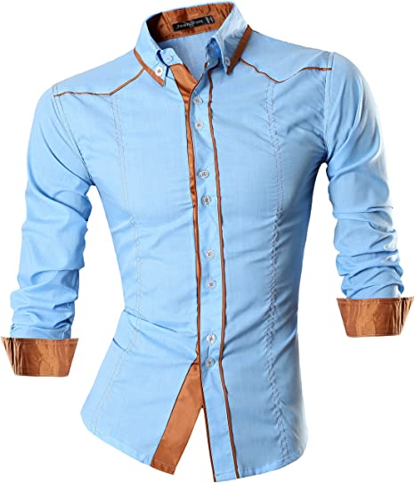 newest 00cd7 3d318 Jeansian Uomo Camicie Maniche Lunghe Moda Men Shirts Slim Fit Casual Long  Sleves Fashion 8695