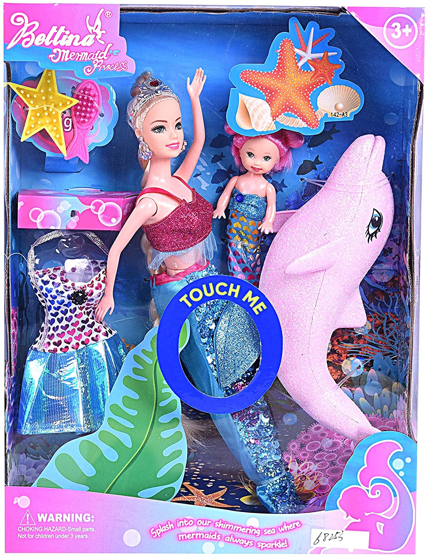 BETTINA Mermaid Princess Doll Pack, Color Changing Mermaid Tail, Dress Doll 12
