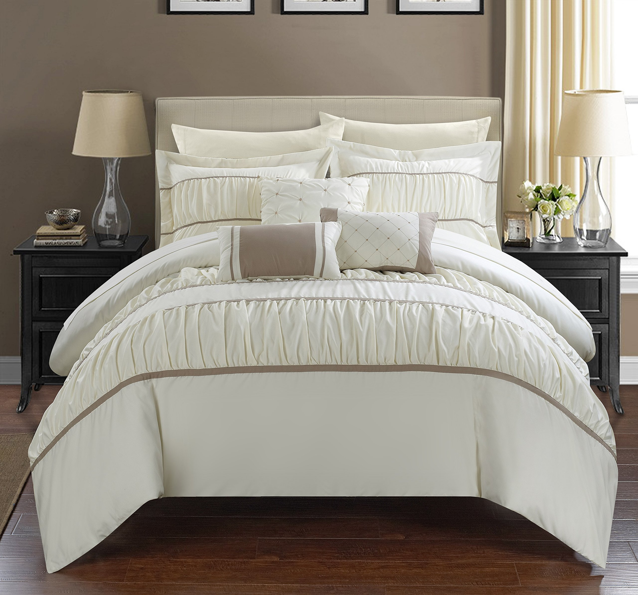 Chic Home Cheryl 10 Piece Comforter Set Complete Bed in a Bag Pleated Ruched Ruffled Bedding with Sheet Set And Decorative Pillows Shams Included, King Beige