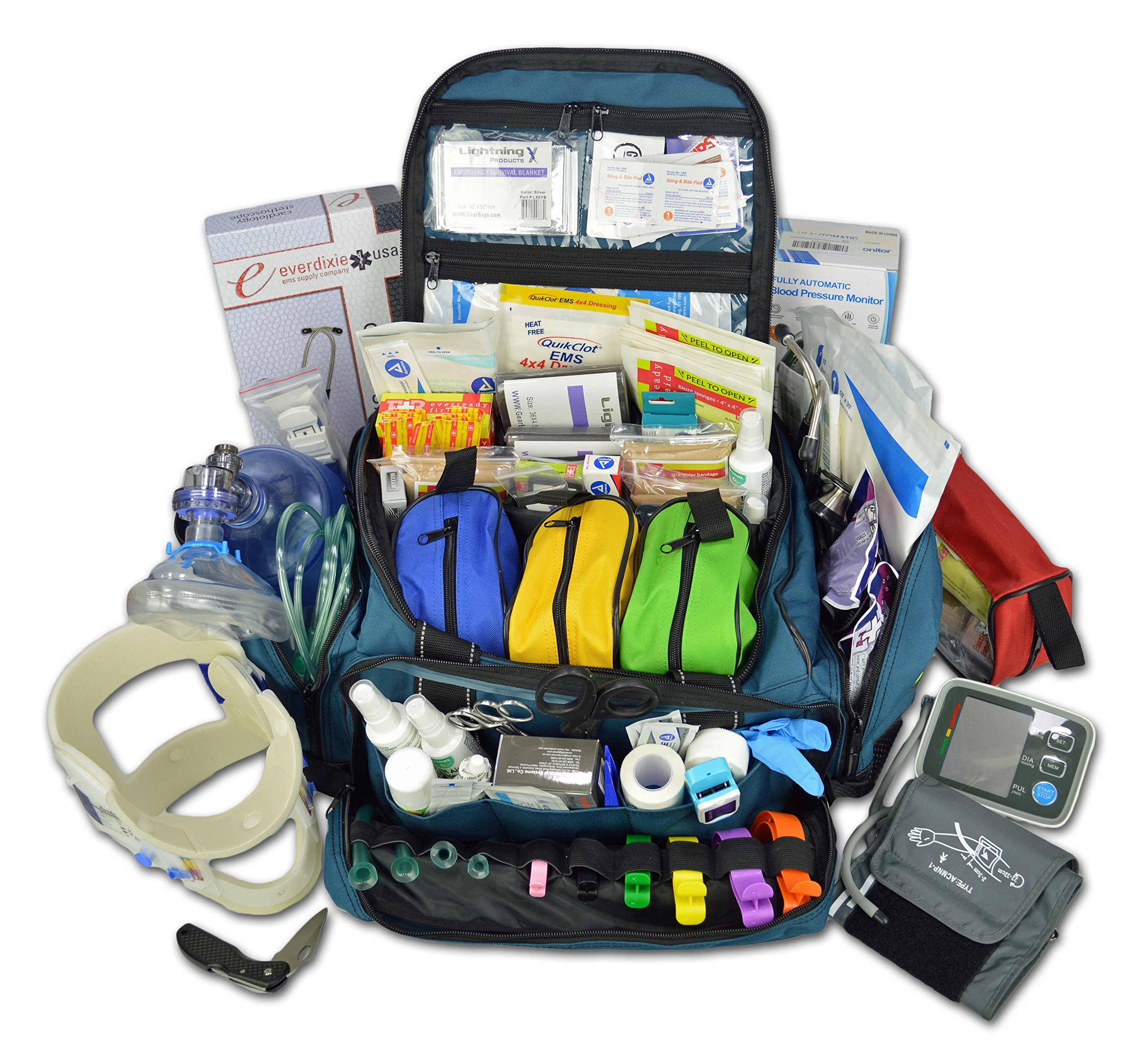 Lightning X Premium Stocked Modular EMS/EMT Trauma First Aid Responder Medical Bag + Kit - Navy Blue by Lightning X Products