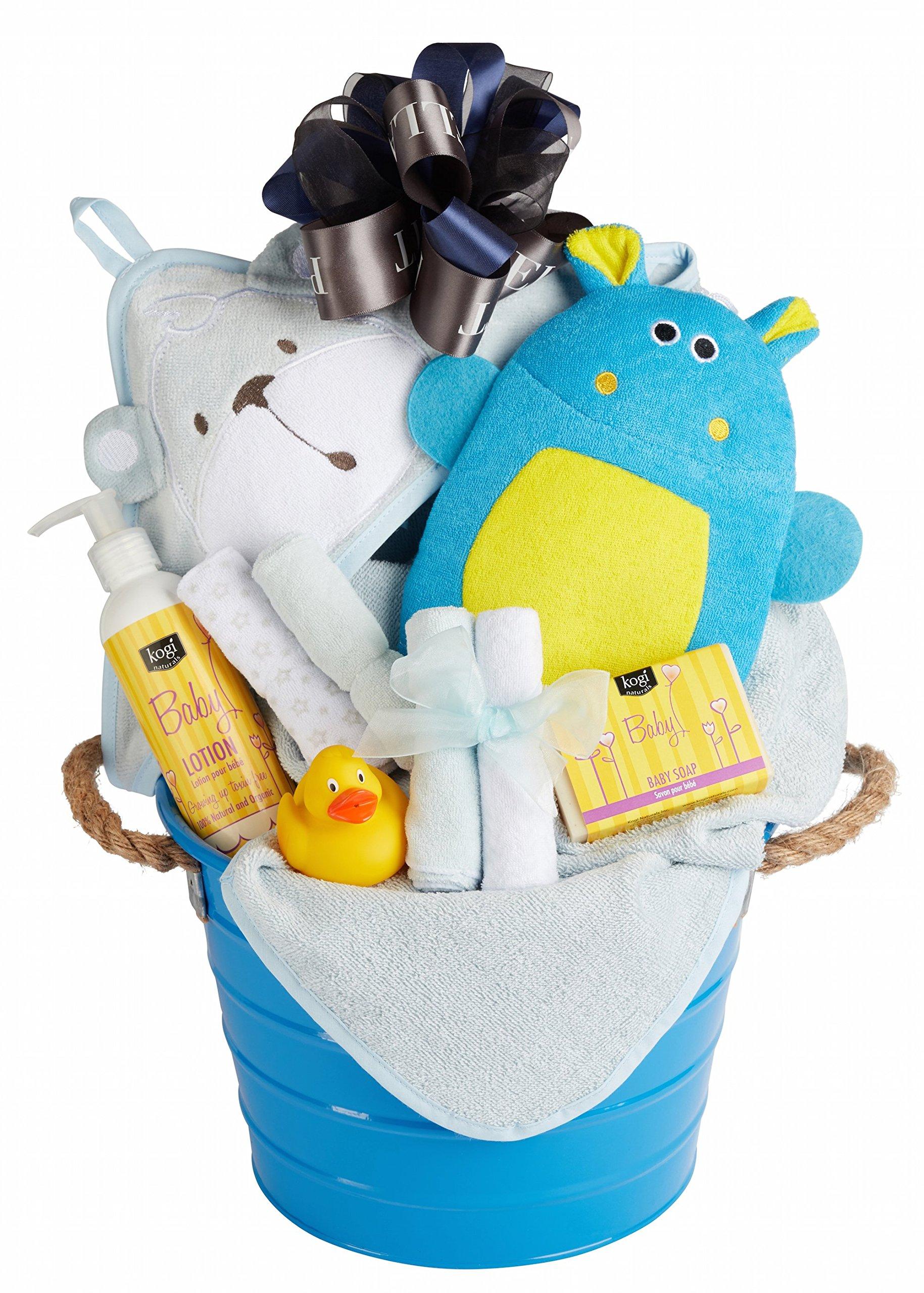 Newborn Baby Boy Bath Basket with Hooded Towel, Washcloths, Organic Soap and Lotion