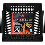 Kona Best Vegetable Grill Basket - Safe/Clean Porcelain Enameled BBQ Grilling Basket (Large 12x12x3 inches) for Veggies…