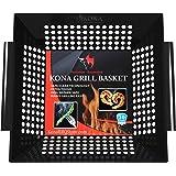 Kona Best Vegetable Grill Basket - Safe/Clean Porcelain Enameled BBQ Grilling Basket (Large 12x12x3 inches) for Veggies, Kabobs, Seafood, Meats