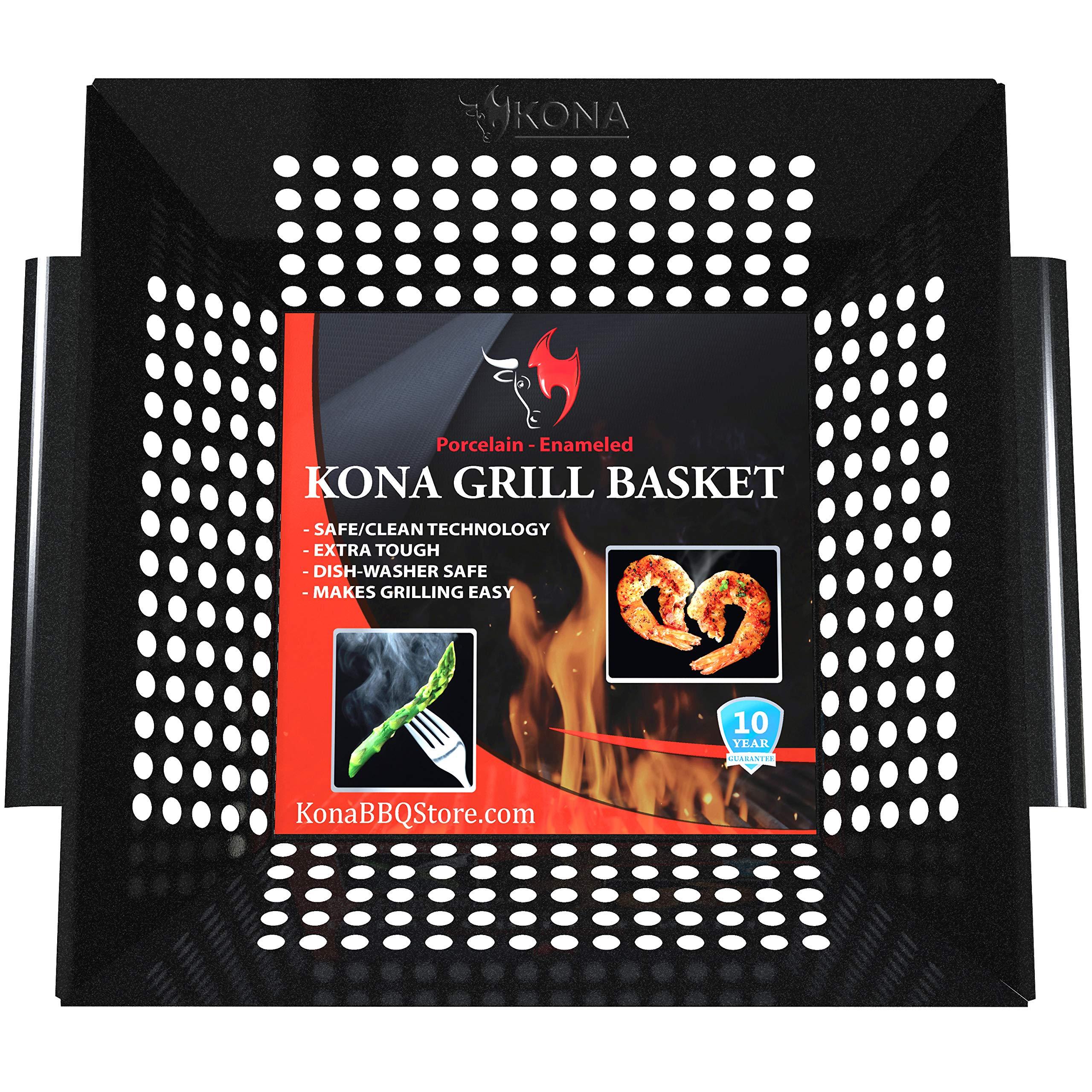 Kona Best Vegetable Grill Basket - Safe/Clean Porcelain Enameled BBQ Grilling Basket (Large 12''x12'') for Veggies, Kabobs, Seafood, Meats - 10 Year Guarantee