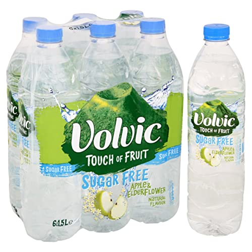 Volvic Touch of Fruit Sugar Free Apple and Elderflower Flavoured Water, 6 x 1.5 L