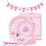 """The Golden Choice - 32 Guests Baby Shower Plates Large/Small, Cups, Napkins, & Banner Party Set/Supplies Decorations or Gender Reveal - 129 Pieces """"It's A Girl"""" (Pink) - Bundle"""