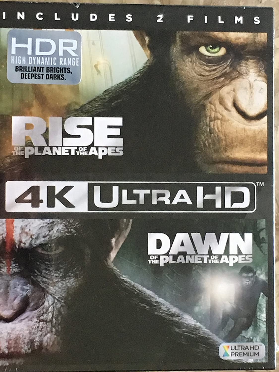Amazon Com Rise Of The Planet Of The Apes Dawn Of The Planet Of The Apes 4k Ultrahd Blu Ray Digital Hd Movies Tv