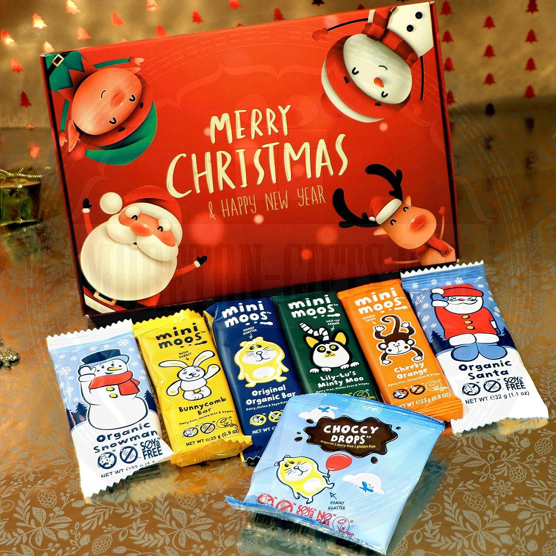 Moo Free Christmas Treats Box Dairy Free Santa Snowman Bunnycomb Original Minty Orange Bars And Choccy Drops By Moreton Gifts