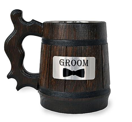 Amazon.com: Hecho a mano madera de novio taza de cerveza non ...