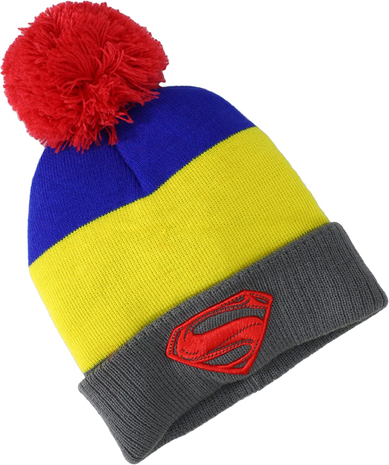 DC Comics Men's Superman-Man of Steel Pom Knit Hat