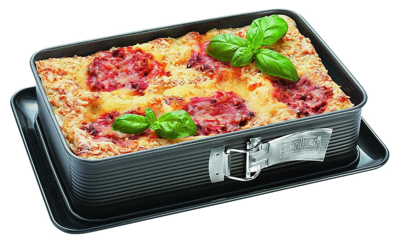 Zenker Lasagne-Springform DELUXE Frabe: Schwarz metallic Menge: 1 St/ück rechteckige Backform mit emailliertem Flachboden Blechkuchenform mit Auslaufschutz