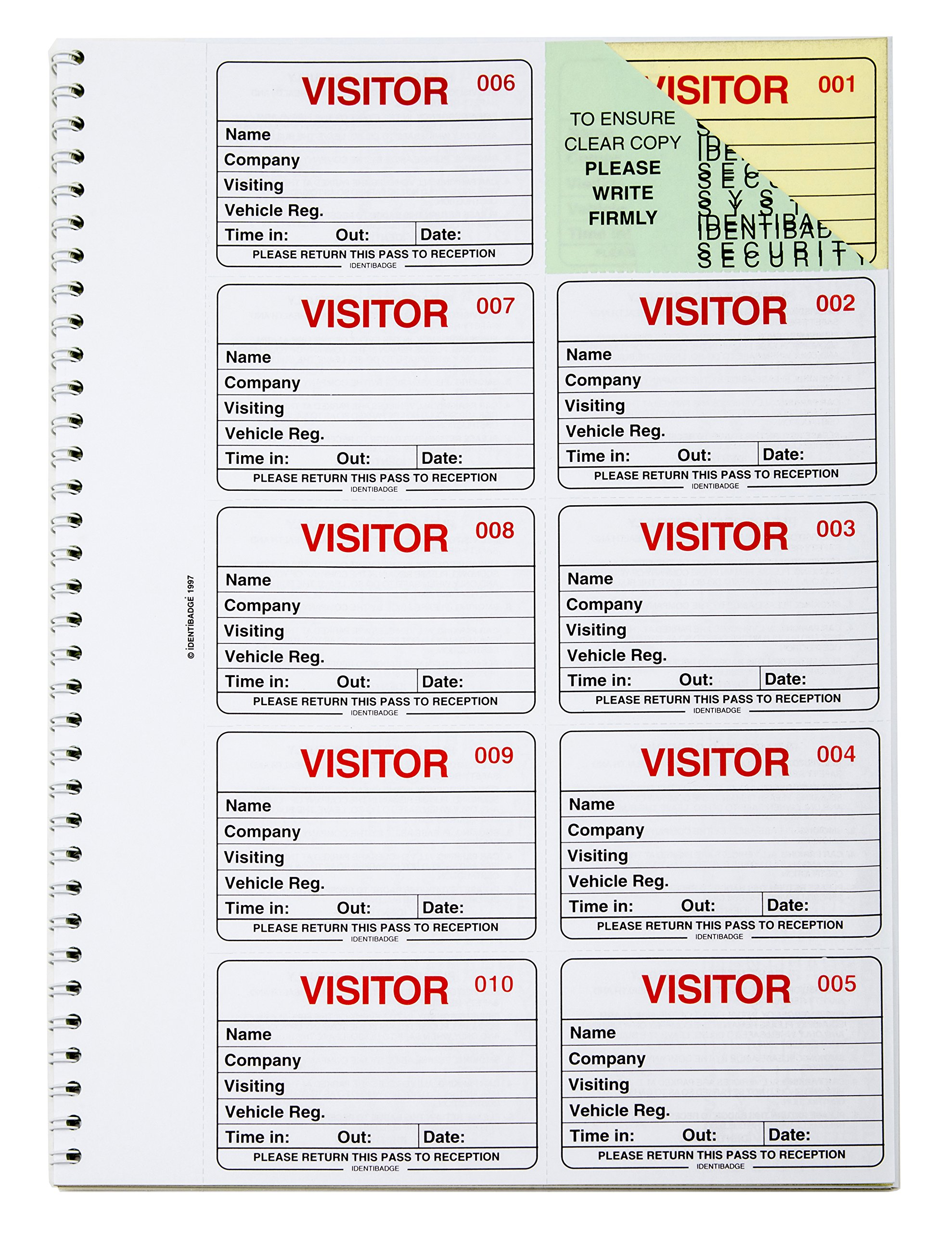 Visitor Gdpr Compliant Business Refill Book 100 90 X 60mm Badge Inserts
