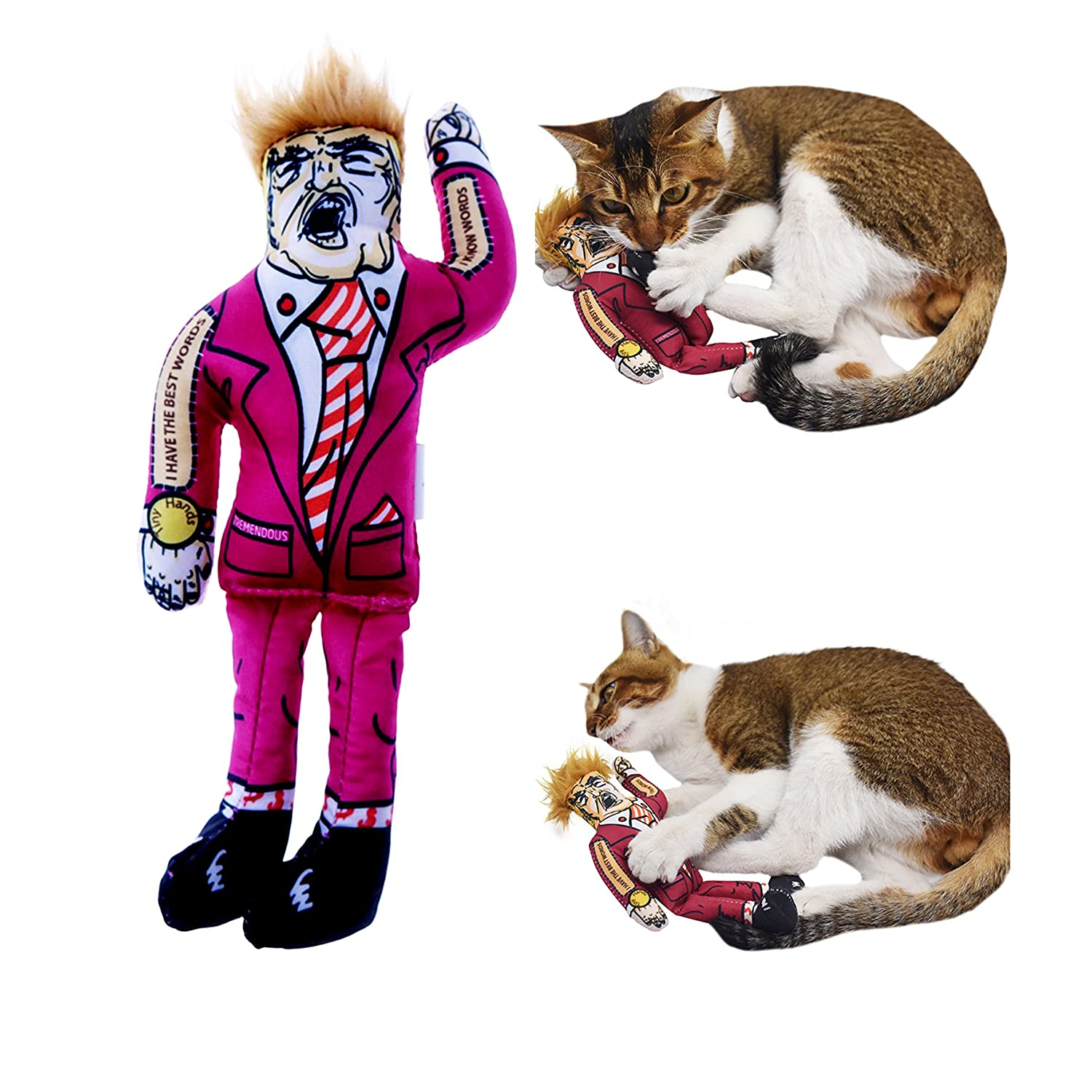 Cat Toys Catnip Interactive Cat Wand Cat Teaser Presidential Parody Donald Trump Corn Putin Cat Scratcher Kim Jung Un For Indoor Kitten by Pet Ezy