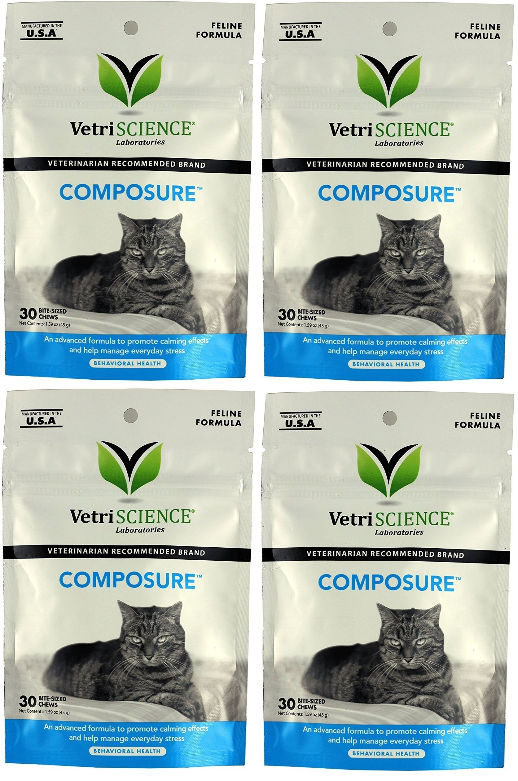 (4 Packages) VetriScience Laboratories - Composure Feline, 120 Bite-Sized Chews Total (30 Per Pack) by VetriScience