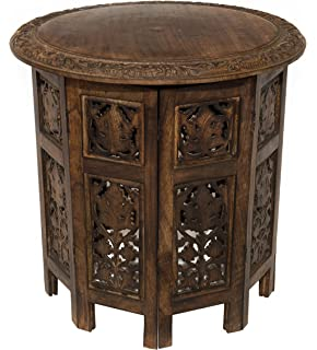 Cotton Craft Jaipur Solid Wood Hand Carved Accent Coffee Table   18 Inch  Round Top X