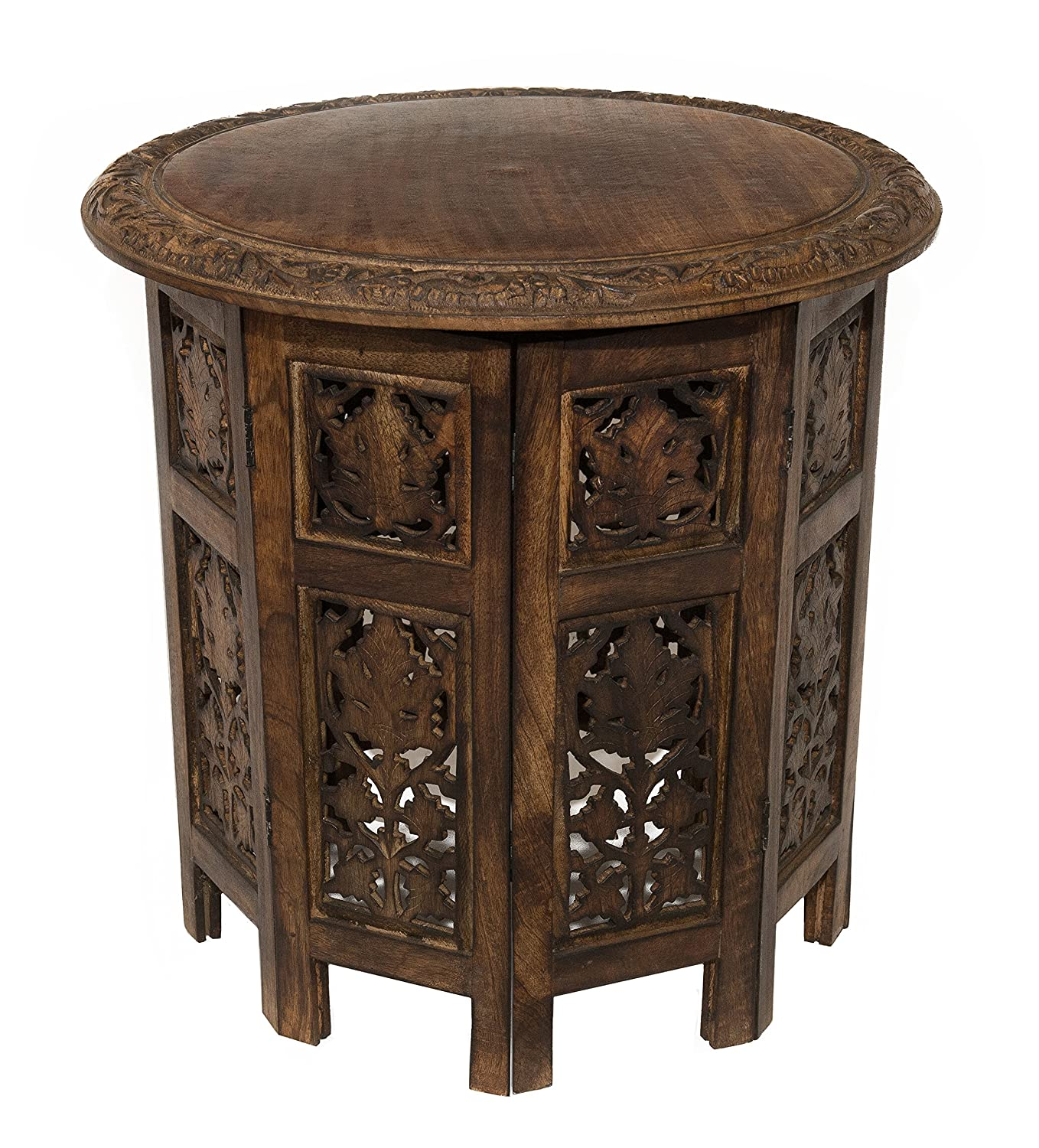 amazoncom cotton craft jaipur solid wood hand carved accent coffee table 18 inch round top x 18 inch high antique brown kitchen u0026 dining