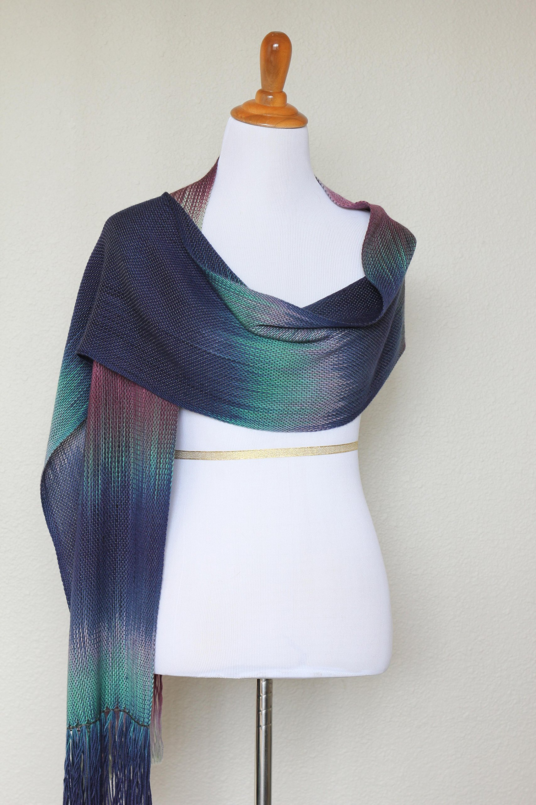 Woven scarf, pashmina scarf in purple, navy and green colors, gift for her, gift for him, scarf with fringe