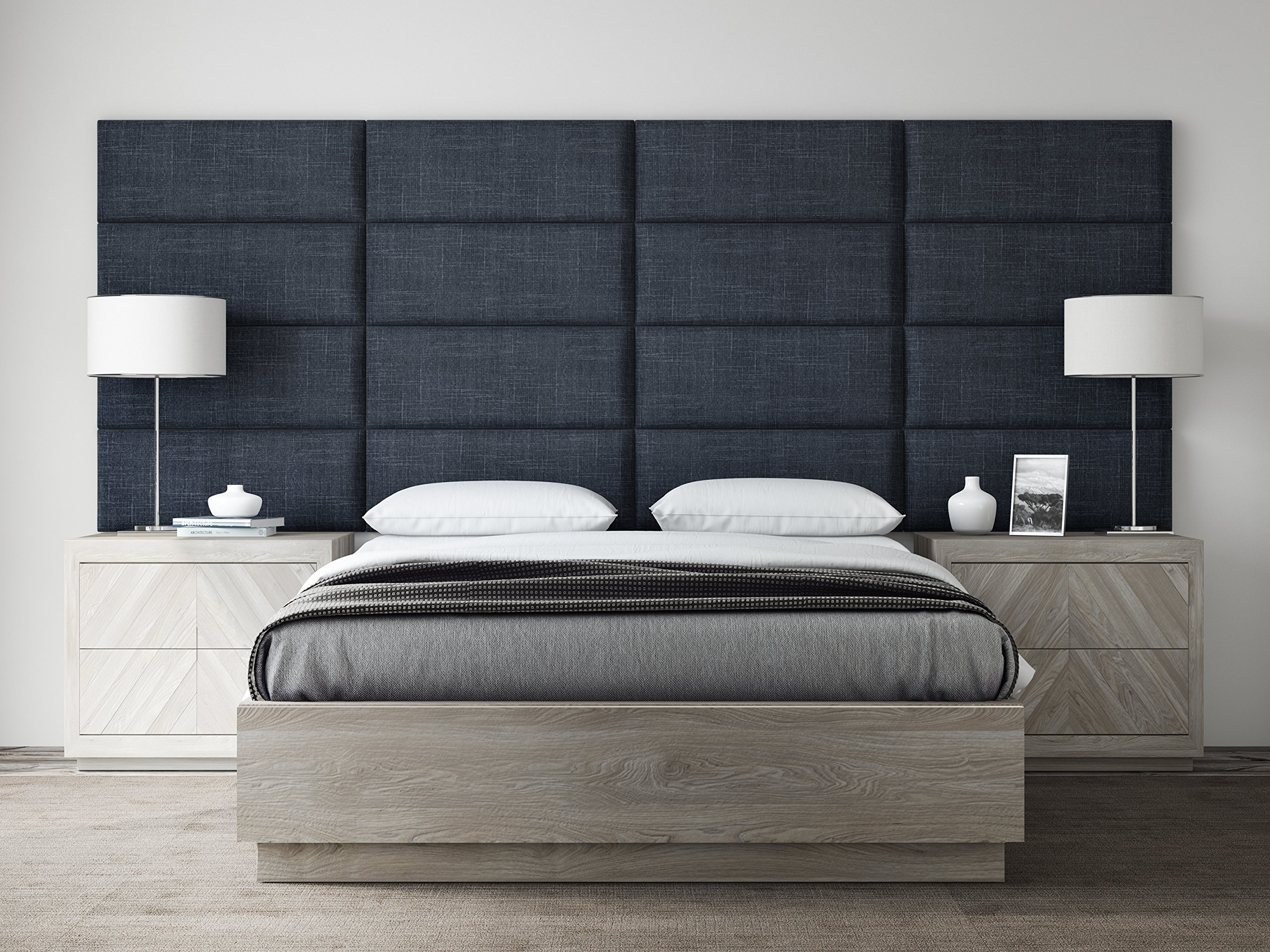 VANT Upholstered Headboards - Accent Wall Panels - Packs Of 4 - Textured Cotton Weave Midnight Blue - 30'' Wide x 11.5'' Height - Easy To Install - Full - Queen Size Headboard