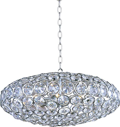 ET2 E24012-20PC Brilliant 8-Light Single Pendant, Polished Chrome Finish, Crystal Glass, G9 Xenon Bulb, 4.8W Max., Dry Safety Rated, 2900K Color Temp., Low-Voltage Electronic Dimmer, Glass Shade Material, 2250 Rated Lumens