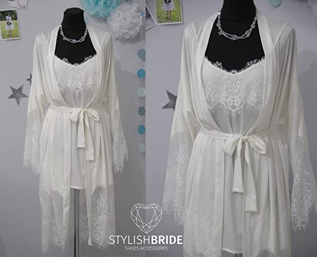 Amazon.com  Bridal Silk Robe Lace Set d459ae314