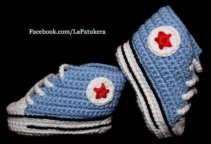 Babyschuhe Häkeln Unisex Stil Converse All Star Farbe Hellblau