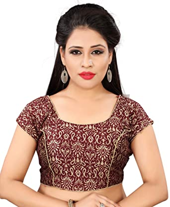 160fed144d410f Maroon kalamkari alike printed Jacquard blouse with keri and flower  combination (X-small)