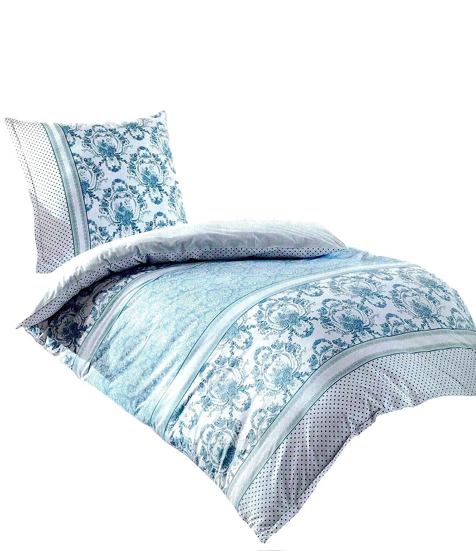 OVP Bettwäsche Baumwolle Reißverschluss Decke 135x200 Kissen 80x80 Weiss NEU