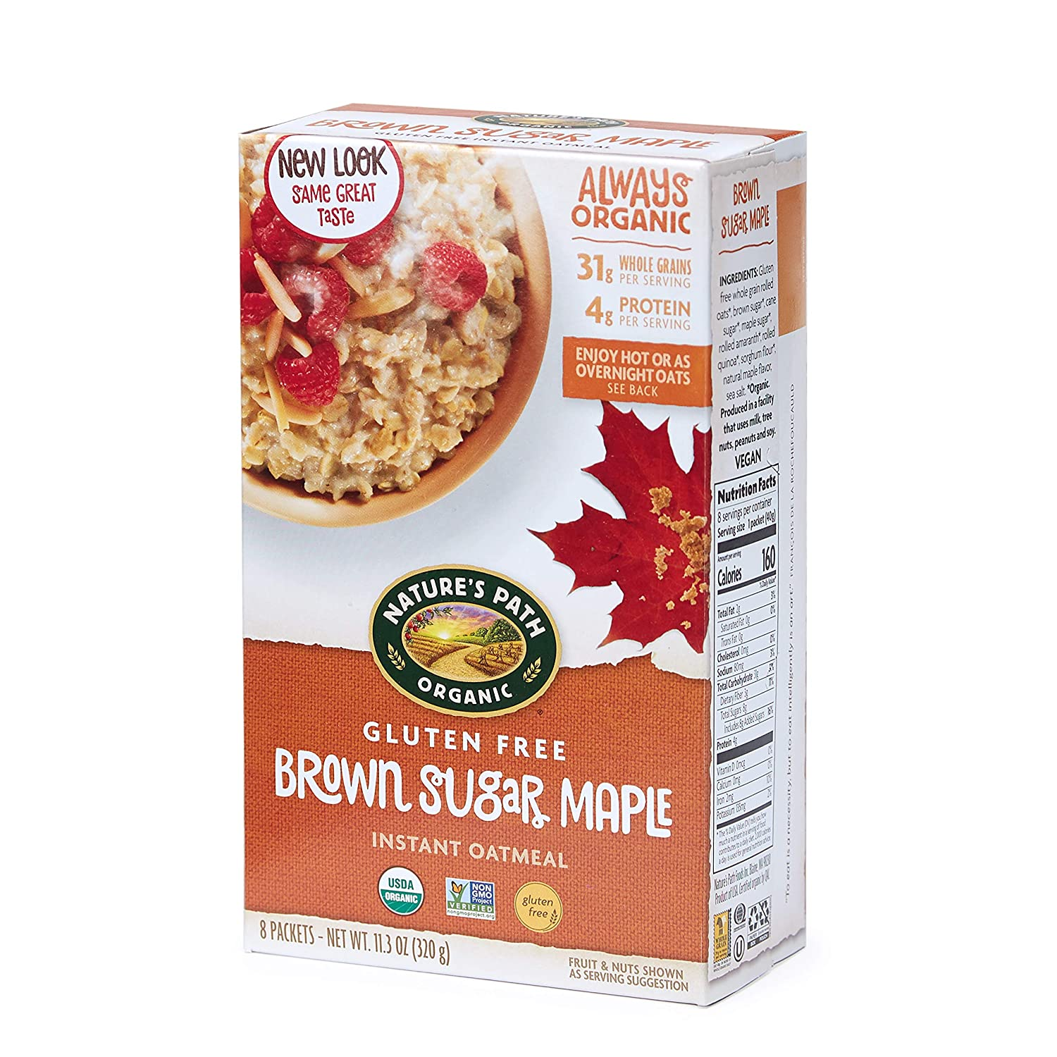 Nature's Path Brown Sugar Maple Instant Oatmeal, Healthy, Organic & Gluten Free, 8 Pouches per Box, 11.3 Ounces (Pack of 6)