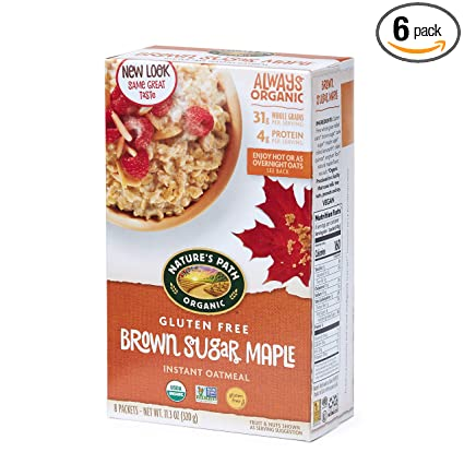 Natures Path Brown Sugar Maple Instant Oatmeal, Healthy, Organic & Gluten Free, 8 Pouches per Box, 11.3 Ounces (Pack of 6)