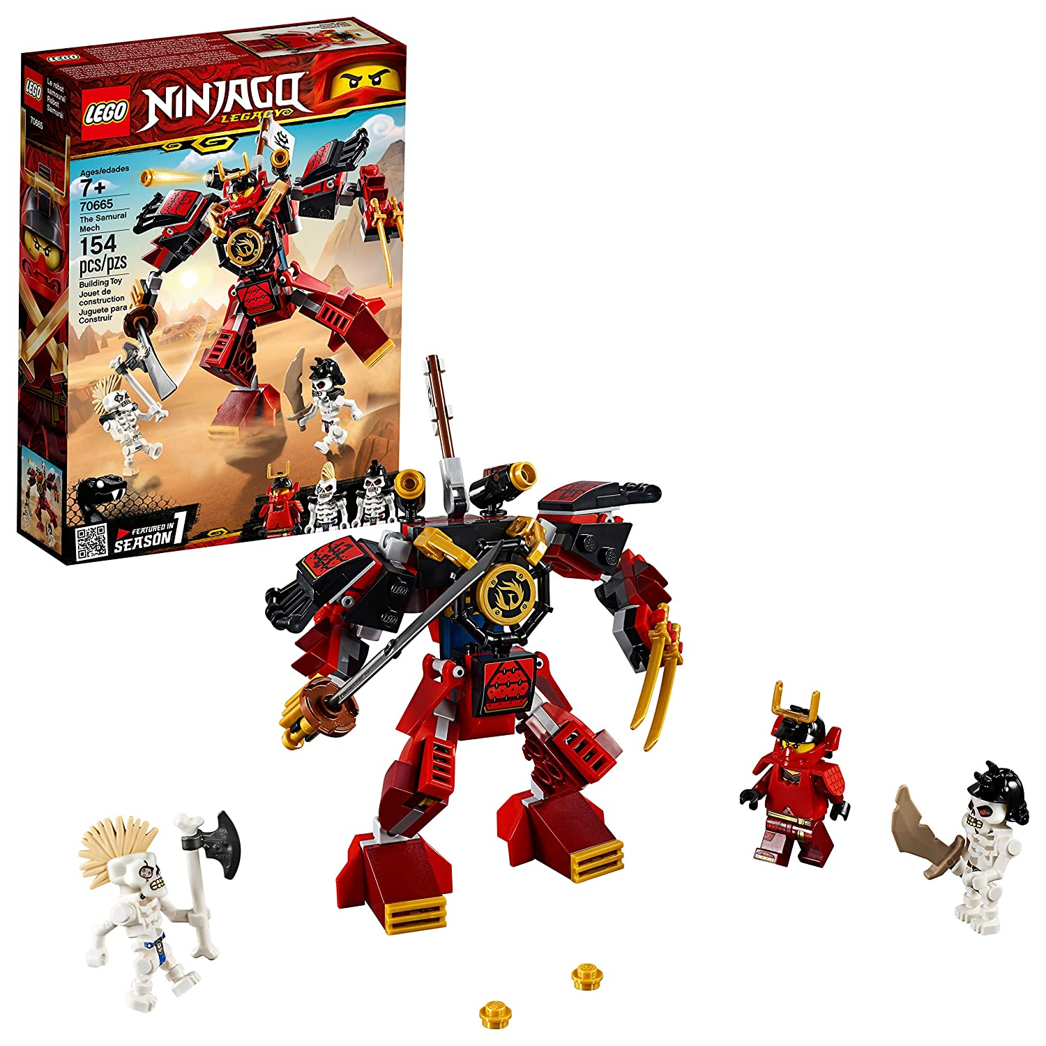LEGO NINJAGO Legacy Samurai Mech 70665 Toy Mech Building Kitcomes with NINJAGO Minifigures, Stud Shooters and a Toy Sword for Imaginative Play (154 Pieces)