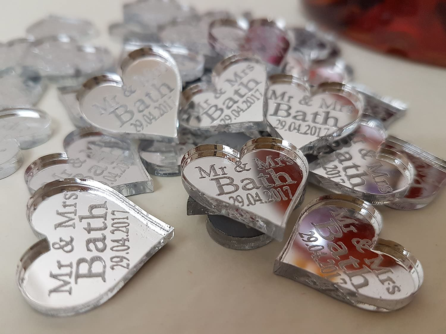wedding favours party X50 Personalised wooden Heart Table Confetti