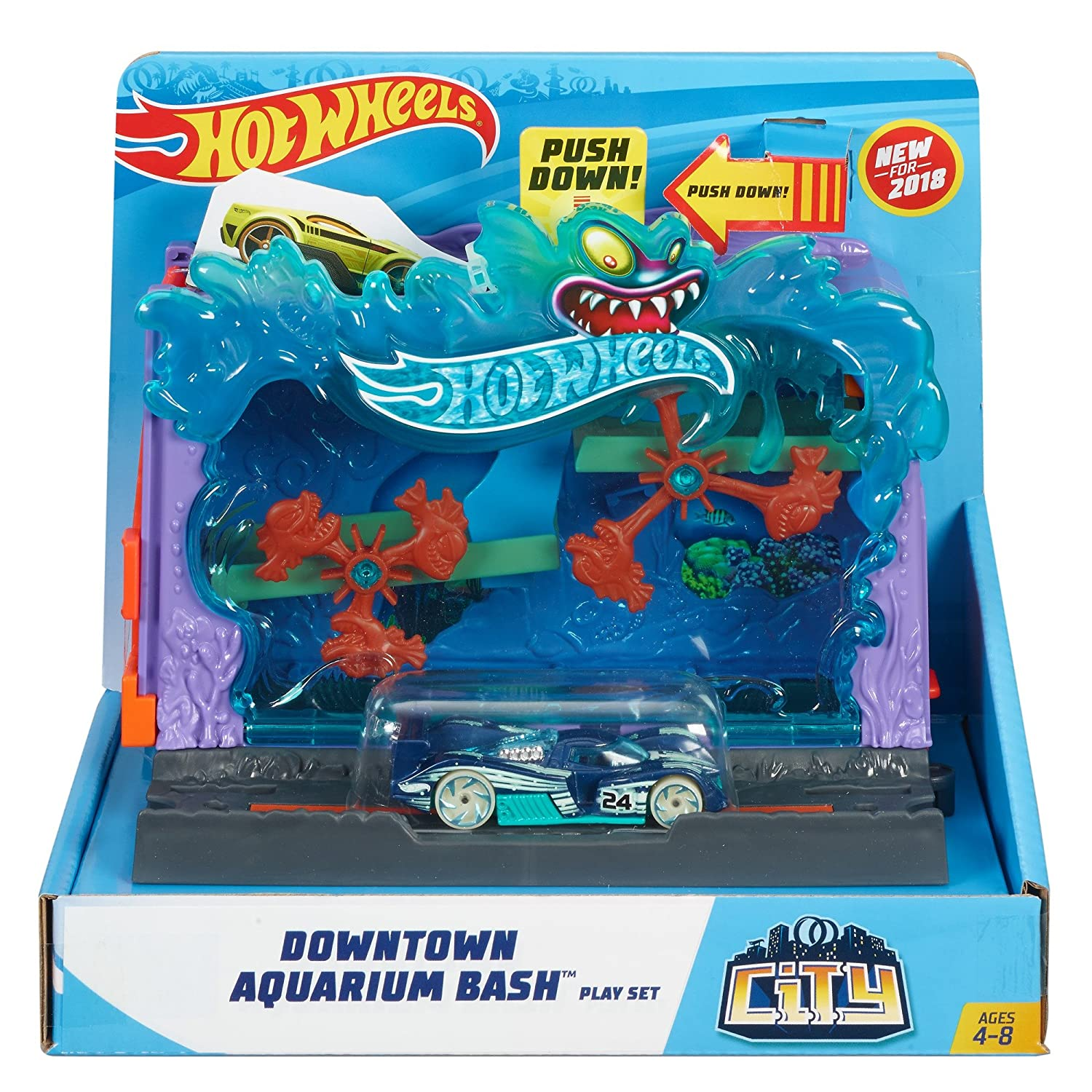 Hot Wheels City Downtown Aquarium Bashplay Set