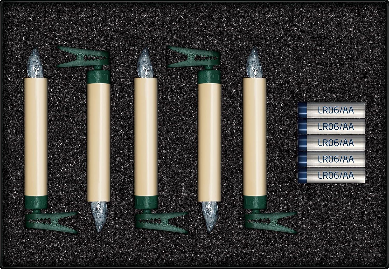 1.7 x 1.7 x 12.5 cm Krinner Lumix Classic Superlight Christmas Tree 10 Candle Base Set Ivory