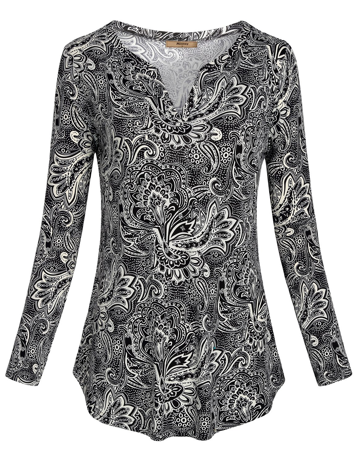 Miusey Henley Shirts for Women, Ladies Peasant Blouse Floral Paisley Pattern Polyster Tri-Blend Baggy Comfortable Weekday Travel Jerseys Sweatshirts Blouses Tunics Tops Black M