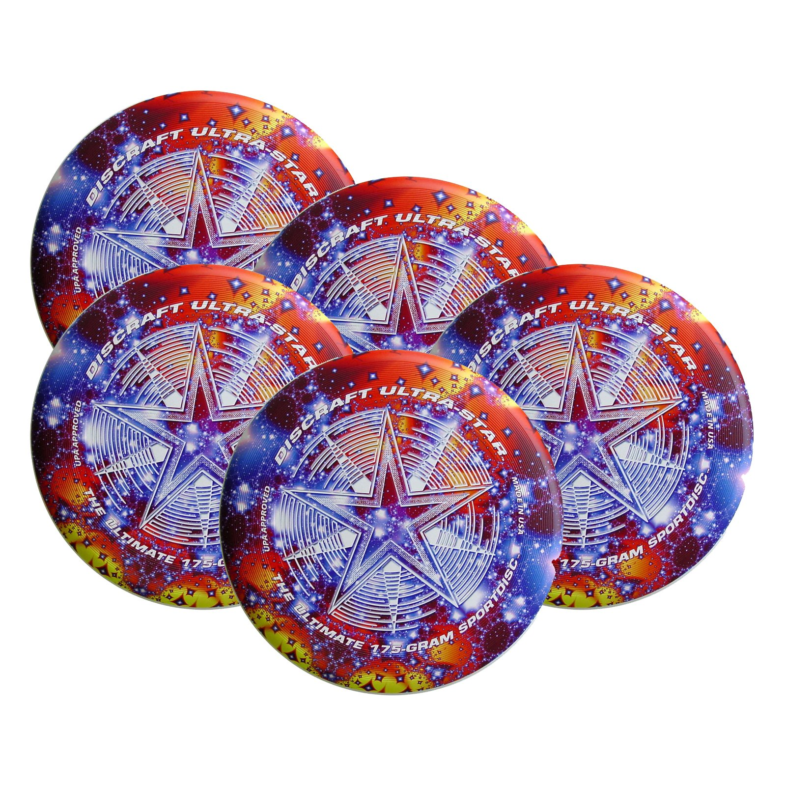 Discraft SuperColor Ultra-Star 175g Ultimate Sportdisc Starscape (5 Pack) by Discraft
