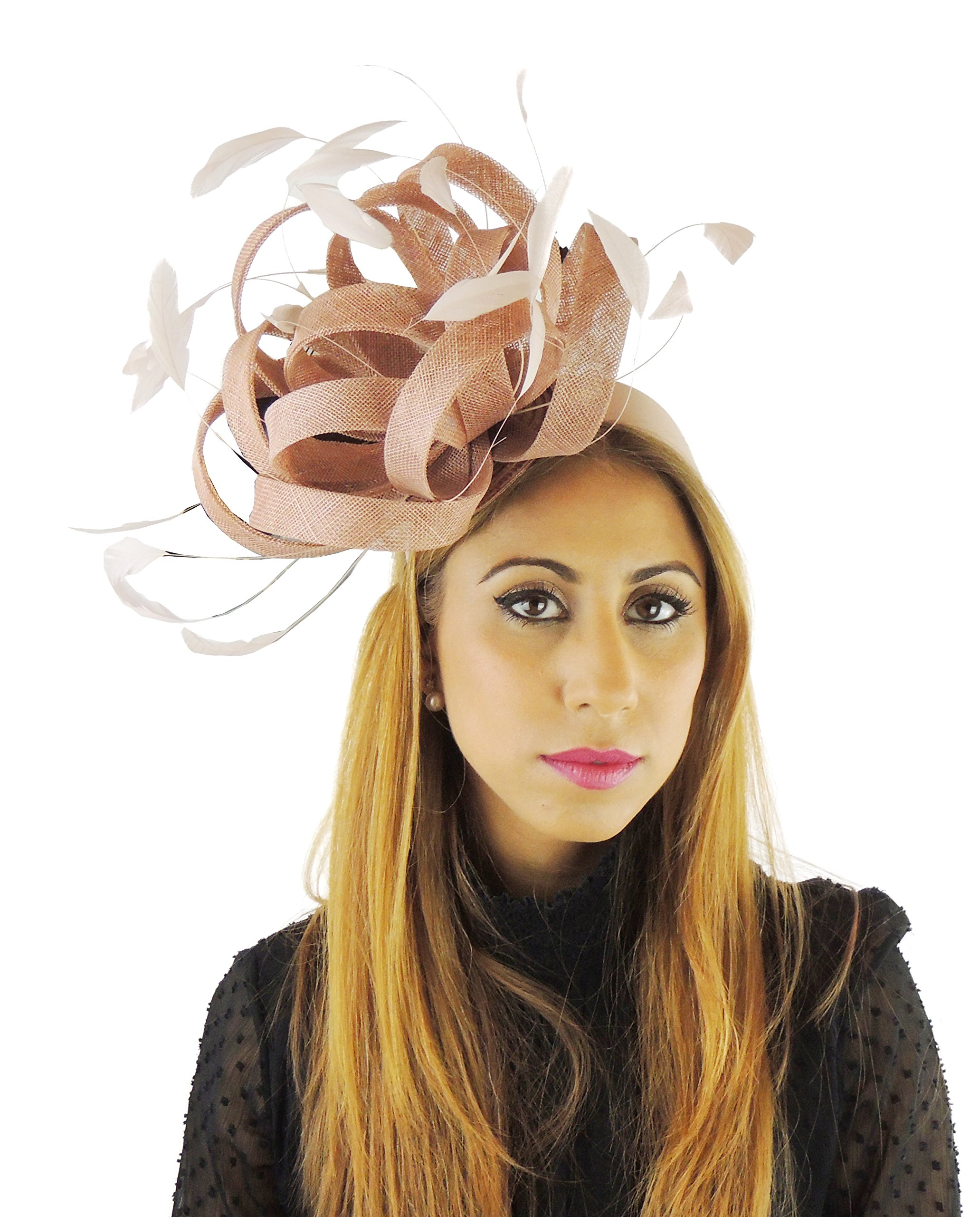 Hats By Cressida Ladies Wedding Races Ascot Derby Fascinator Headband Beige by Hats By Cressida