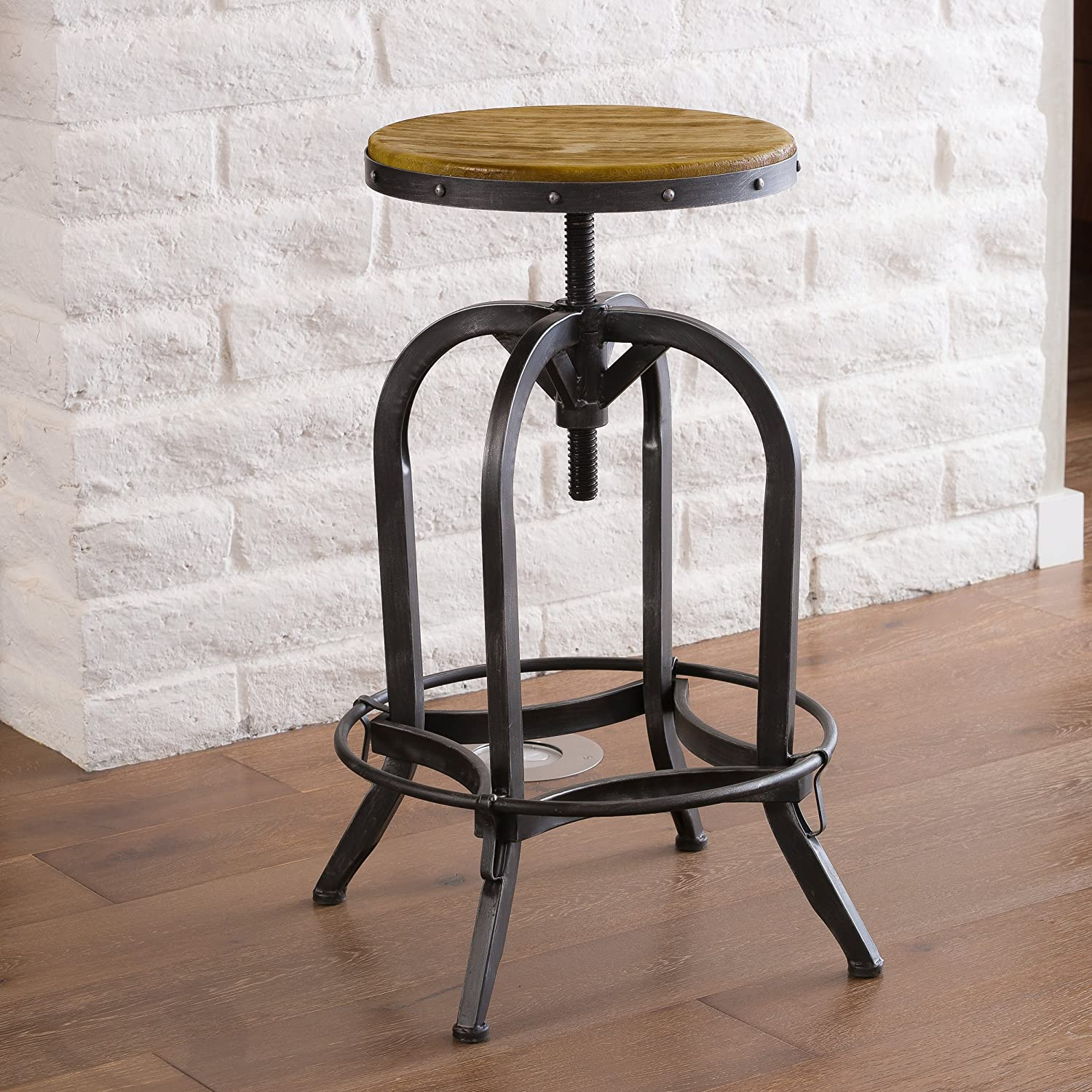 Christopher Knight Home 234615 Christopher Knight Adjustable Natural Fir Wood Finish Barstool