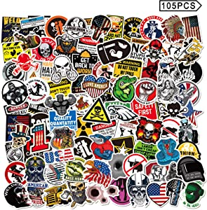 Shuyan Hard Hat Stickers 105pcs Funny Construction Vinyl Waterproof Tool Box Helmet Decals for Teens Adult Men Guitar Laptop Hydro Flasks Decoration