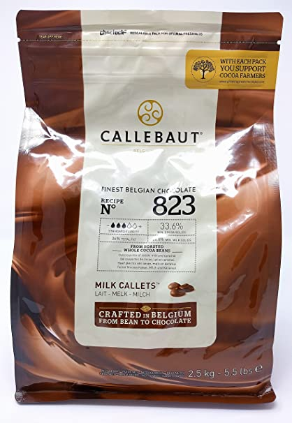 332a27d04945 Callebaut N° 823 - Finest 33.6% Belgian Milk Chocolate Couverture (Callets)  2.5kg  Amazon.co.uk  Grocery